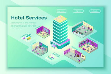Hotel internet landing page template with isometric flat icon of building, barbershop, cafe, laundry, transportation service, bike rent, online booking app concept, 3d vector illustration