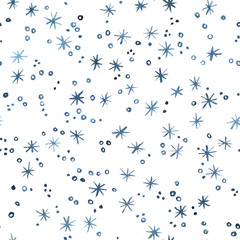 Indigo blue watercolor blizzard. Christmas and New Year seamless pattern