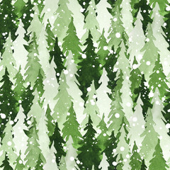 Seamless watercolor pattern with green pine trees and snow. Christmas and New Year decoration