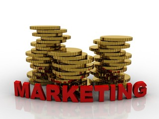 3d rendering Gold coins with marketing text