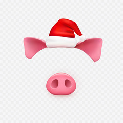 Christmas Santa Claus hat with pig ears, nose elements isolated on transparent background. New Year red hat and piggi face. Vector symbol of year 2019.