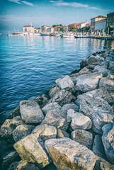 Seafront in Porec, Istria, Croatia, analog filter