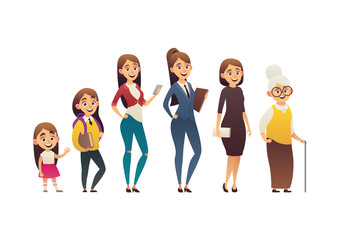 Character of woman in different ages generation people and stages growing up