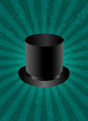 Top Hat. Green background with center rays, grunge texture.