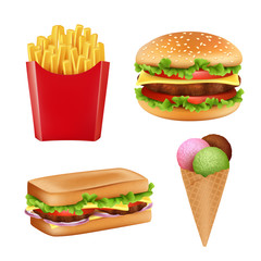 Fast food pictures. Hamburger sandwich fries icecream and cold drinks bread 3d realistic vector illustrations isolated. Ice cream and burger isolated on white