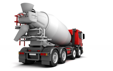 Rear view of concrete mixer truck isolated on white background. Right side. Perspective. 3d illustration.
