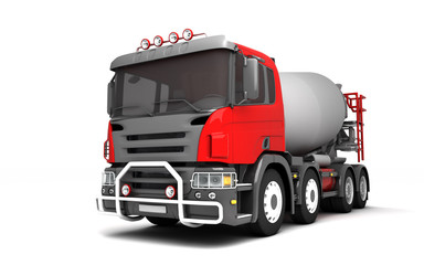 Front side view of concrete mixer truck isolated on white background. Left side view. Perspective. 3d illustration.