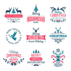 Christmas elements. Holiday labels borders badges and vintage new year stamps vector wishes with your text. Seasonal winter badge logo, merry xmas and new year illustration