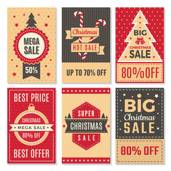 Fotobehang Vintage Poster Christmas sale banners. New year special offers and discounts deals labels coupon vector template. Poster discount holiday, winter offer illustration