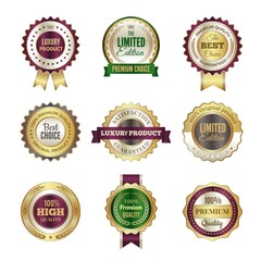 Luxury premium badges. High quality golden crown best choice labels and stamp vector template for certificate and documents. Luxury label promotion, best choice illustration