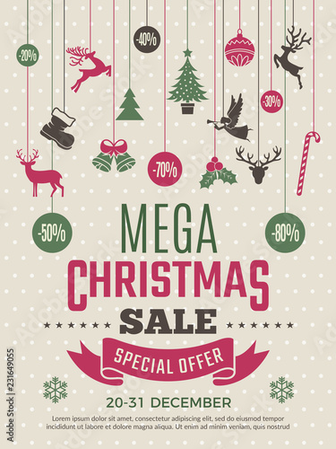 43d5baad5e9ed Christmas poster for big sales. New year voucher deals discounts vector  coupon template. Illustration of mega banner sale for xmas and new year