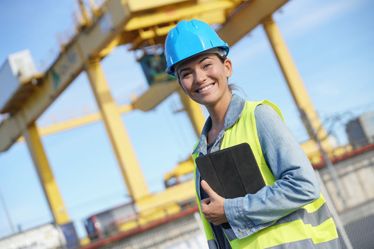 Woman on a building site