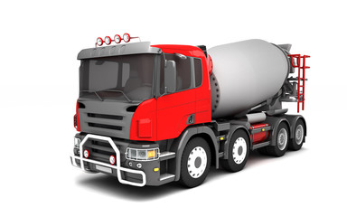 Front side view of concrete mixer truck isolated on white background. High angle view. Left side view. Perspective. 3d illustration.