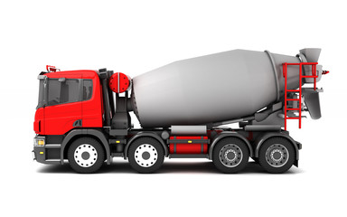 Left side view of concrete mixer truck isolated on white background. 3d illustration.