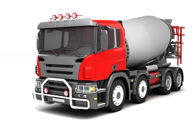 Front side view of concrete mixer truck isolated on white background. Perspective. 3d illustration.