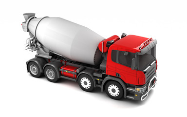 Side view of concrete mixer truck isolated on white background. High angle view. Right side. Perspective. 3d illustration.