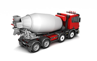 Rear view of concrete mixer truck isolated on white background. High angle view. Right side. Perspective. 3d illustration.