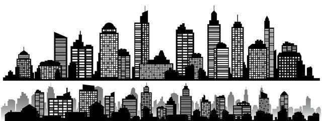 Vector set of black horizontal night cityscapes
