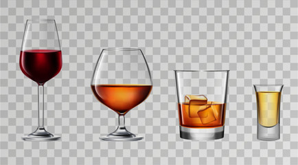 Set of alcohol glasses. Vector illustration.