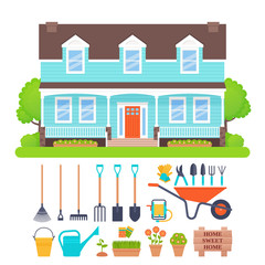 Suburb house exterior, garden tools. Vector. Gardening set. Residential cottage with lawn, tree, bush. Sweet home background. Front view building facade. Townhouse in flat design. Cartoon illustration