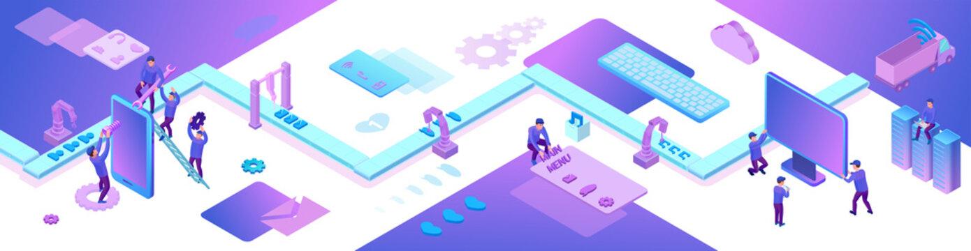 Mobile app and website development 3d isometric concept, software management vector illustration, developer at conveyor building smartphone application, trendy violet background, landing page banner