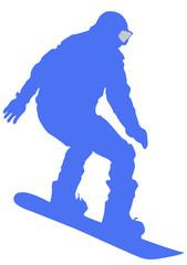 Blue Snowboarder Flat Icon on White Background