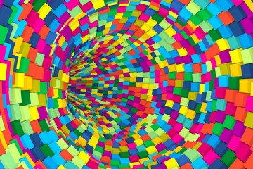 colorful tunnel abstract background with cube 3D illustration