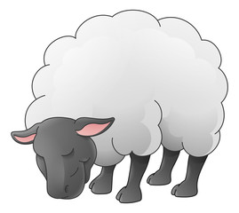 A sheep animal cute cartoon character black and white coloring illustration
