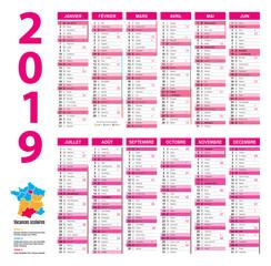 Calendrier 2019 complet 12 mois vacances scolaires lune rose