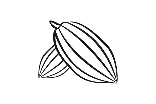 cacao bean, mono line logo Designs Inspiration Isolated on White Background