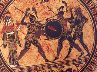 Detail from an old historical greek paint. Mythical heroes and gods fighting on it