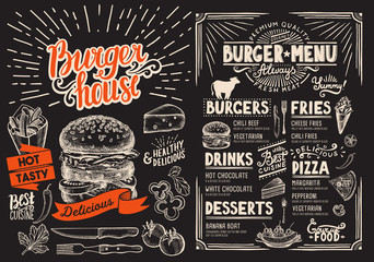 Burger restaurant menu on blackboard. Vector food flyer for bar and cafe. Design template with vintage hand-drawn illustrations.