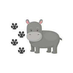 Funny gray hippopotamus and his footprints. Cartoon character of wild animal. Flat vector element for book or children room decor