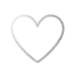 Silver Heart Icon. Vector Line.