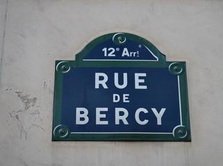 Rue de Bercy, Panneau de nom de rue