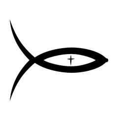 Christian symbolism, fish and cross, black pattern
