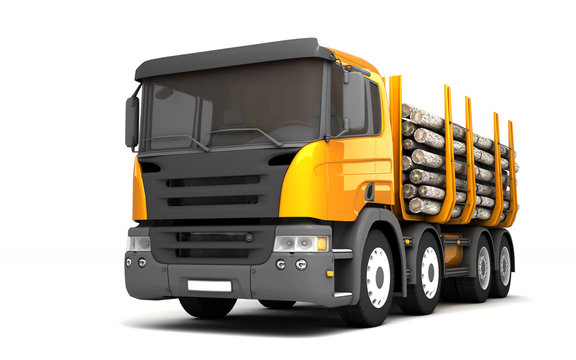 Front side view of timber truck isolated on white background. Left side view. Perspective. 3d illustration.