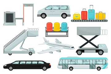 Flat vector set of airport elements. Transport, boarding stairs, carousel with suitcases, chairs, airplane and security system