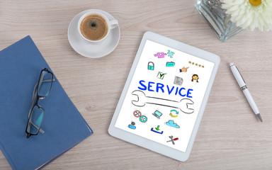 Customer service concept on a digital tablet