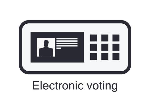 Electronic ballot box icon isolated on white background. Electronic voting. Vector illustration