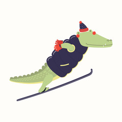 Hand drawn vector illustration of a cute funny crocodile ski jumping outdoors in winter. Isolated objects on white background. Scandinavian style flat design. Concept for children print.