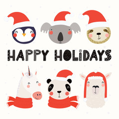 Printed kitchen splashbacks Illustrations Set with cute animals in Santa Claus hats, typography. Isolated objects on white background. Hand drawn vector illustration. Scandinavian style flat design. Concept for Christmas, children print.