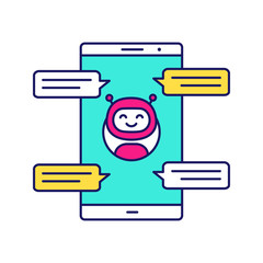 Chatbot with speech bubbles color icon