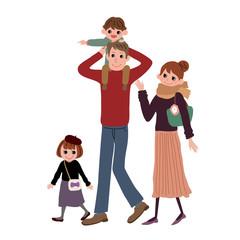 家族 子育て 4人 イラスト
