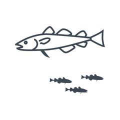 thin line icon fish, cod fish