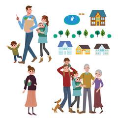 家族 子育て ショッピング イラスト