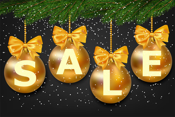 Christmas or New year Sale for Promotion. Vector illustration of gold bauble with fir-tree on black background.