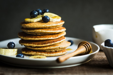 Banana,Oat Pancakes with fresh Blueberry and Banana