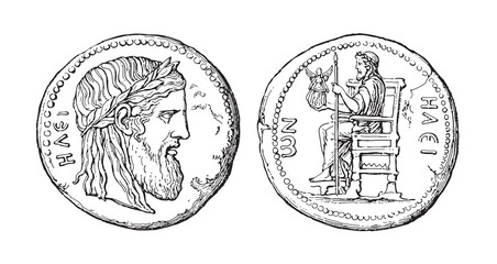 Ancient Greek coin of Elis illustrating the Olympian Zeus / vintage illustration from Meyers Konversations-Lexikon 1897