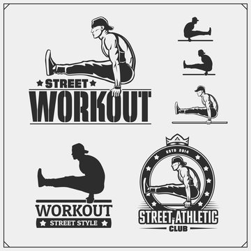 Vector set of Street Workout and fitness emblems and labels. Athletes illustrations and silhouettes.